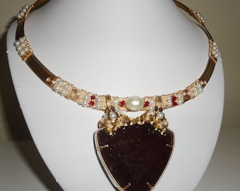 CERTIFIED Natural 416 ct Earth Mined Trillion Deep Red Ruby gemstone, 14kt yellow gold Necklace