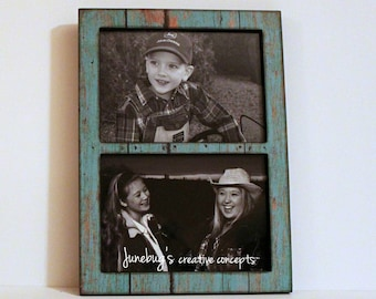 Double 4x6 or 5x7 2 Photo Frame Weathered Turquoise Paint ~ Rustic Wood Look Frame ~ Barn Wood Paint Picture Frame ~ Wall or Tabletop Frame