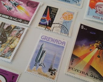 Space Stamps 25 World Wide Used & Unused