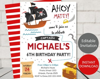 Pirate invitations etsy pirate invitation for pirate party instant download pirate birthday invitation digital file pirate party stopboris Gallery