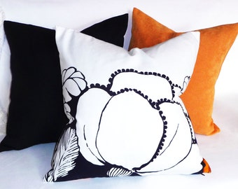 Navy White Pillow, Large Flower Pillow Cover, Floral Pillows, Floral Silhouette Pillows in Black Navy, Cobalt Blue, Beach House Decor, 18x18