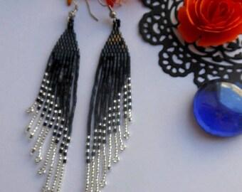Black long earrings  Fringe earrings Black beaded earrings Silver earrings Festive earrings Boho earrings Jewelry earrings gift for her