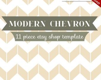 Custom Etsy Banner and Avatar Design Set - 11 Piece Modern Chevron Minimalist Retro DIY Template - mdc - Geometric ZigZag