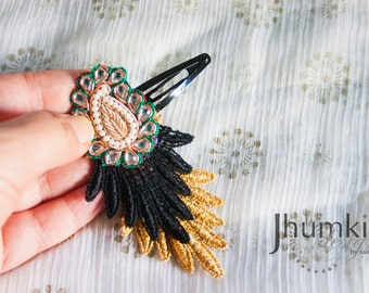 dulhana - 1 Bollywood Applique and Venetian Lace HAIR CLIP by jhumki designs by raindrops