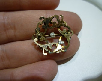 C50 Vintage P.S Co. Gold Filled Pin with a Small CZ.