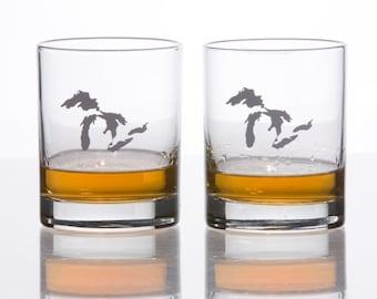Michigan Scotch Whiskey Glasses Set of 2, Michigan Glasses,  Sandblasted Monograms, 7.75 oz Capacity Each
