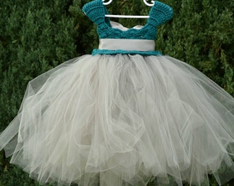READY to SHIP 12-18 Months Teal Grey Silver Crochet Tulle Tutu Flower Girl Dress Baby Costume Handmade Photo Prop Baptism Christening