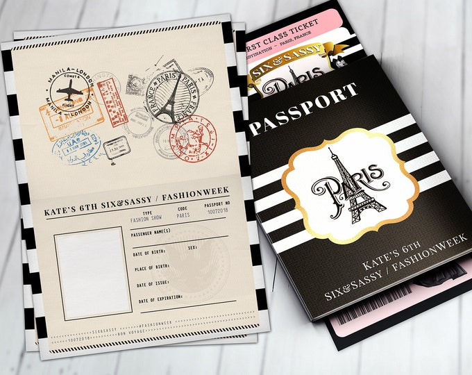 PASSPORT and TICKET, Sweet 16, Quinceanera invitation Girl birthday party, fashion show birthday invitation- Paris, Digital files only