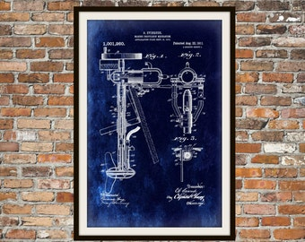 Blueprint Art of Patent Outboard Boat Engine Technical Drawings Engineering Drawings Patent Blue Print Art Item 0030