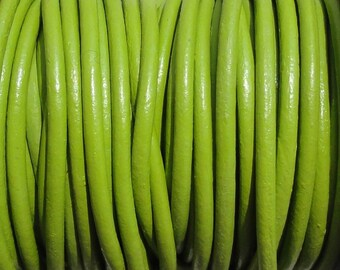 2mm Fern Green Genuine Leather Cord - 10 Yard Increments