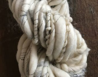 Icicle - luxury handspun sparkle yarn, super soft yarn, 38 yards, ultra bulky yarn, handspun art yarn, chunky art yarn,