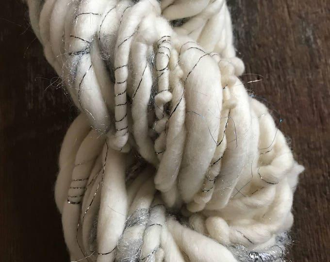 Icicle - luxury handspun sparkle yarn, super soft yarn, 38 yards, ultra bulky yarn, handspun art yarn, chunky art yarn,