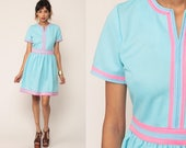 Baby Blue Dress 60s Mod Kawaii Hot Pink High Waisted Mini Gogo Stewardess Pastel Fit and Flare Vintage 1960s Minidress Medium