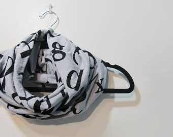 Grey Typography Infinity Scarf - Writer Gift - Book Lover Scarf - Teacher Gift - Grey and Black Scarf - Grey Letter Scarf