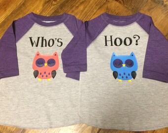 Who's Hoo Twin raglan shirt set