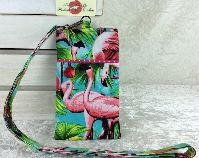 Flamingos Lanyard pouch case cover cell mobile phone glasses Tropical Birds