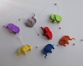 Baby elephant in multicolored origami Garland