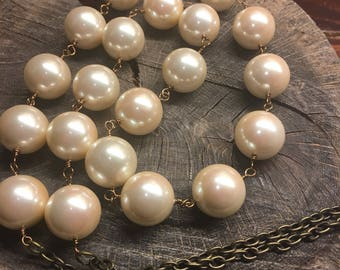 Necklaces Handmade hand wired lusty large pearls with brass wire