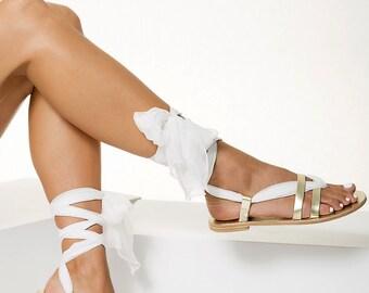 "Bridal Flat sandals handmade of leather and silk, Gold wedding sandals ""Nephele"""
