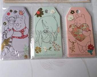 x 24 mixed tag gifts Winni the Pooh patterned card stock 8 x 4 cm