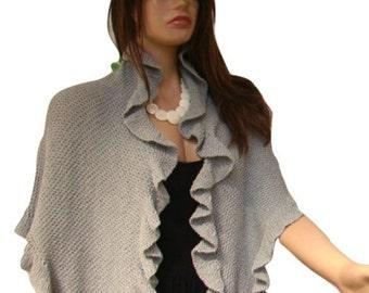 Light Gray Hand knit Cotton Shawl, Viscose, Three Sides Ruffled Shawl, Bridesmaid Gift, Bridal Wrap, Express Delivery