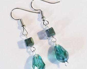 teal earrings, dangle earrings, beaded earrings, beaded jewelry, women's earrings, earrings, women's jewelry, jewelry, green jewelry, gift