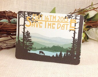 Catskills Mountain Rolling Hills Couple with Deer Save The Date Postcard Craftsman Style Get Started Deposit or DIY Payment