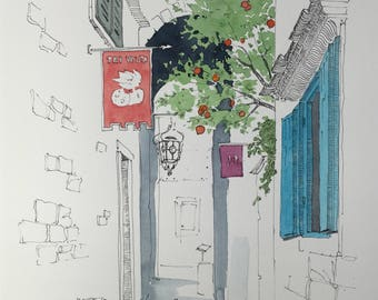ORIGINAL. Urban sketch. Street. Trogir, Croatia.