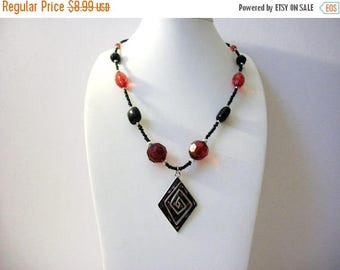 ON SALE Retro Faceted Translucent Acrylic Beads Enameled Pendant Necklace 80417