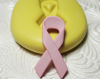 PINK RIBBON Awareness Mold Flexible Silicone Rubber Push Mold for Resin Wax Fondant Clay Fimo 6106