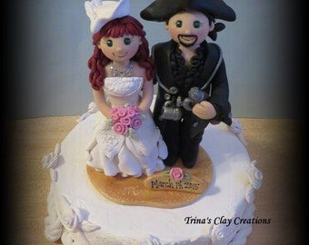 Wedding Cake Topper, Custom Pirate and Renaissance Polymer Clay Wedding/Anniversary Keepsake, Victorian Wedding