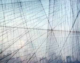 the cage: brooklyn bridge print nyc art new york skyline nyc photography geometric art large canvas art new york city print new york photo