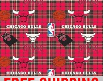 "Fleece Fabric Chicago Bulls Fleece Fabric NBA 60"" Wide. Style# BULLS-5002. Free Shipping."