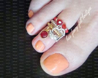 Heart Charm Toe Ring, Ruby Red Crystal Charm Toe Ring, Ruby Ring, Stacking Rings, Gold Toe Ring, Silver Toe Ring, Stretch Bead Toe Ring