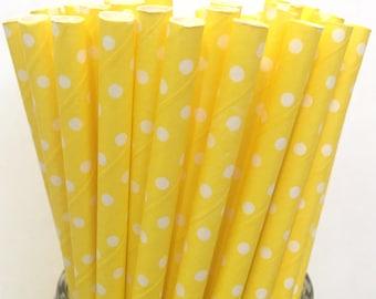 2.85 US Shipping -Yellow Polka Dot Paper Straws  -  Yellow Polka Dot Straws- Cake Pop Sticks