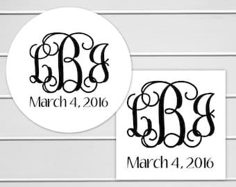 Monogrammed Wedding Stickers, Monogram Wedding Stickers, Wedding Labels, Wedding Stickers (#156)