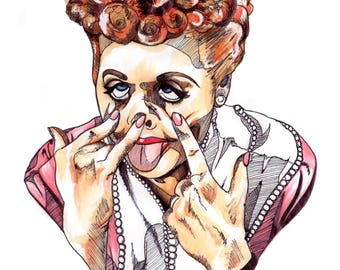 Lucille Ball: I Love Lucy A4 Print