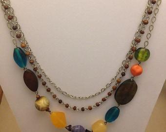 Vintage Multicolor Three-Strand Necklace