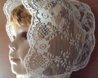 White lace Baby bonnet; Semi-sheer ultra soft & ultra light sunbonnet; Baby Christening / Baptism hat; Handmade