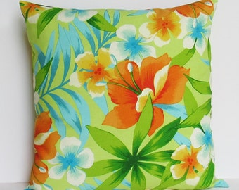 Tropical Floral Pillow Cover, Beach House Throw Pillow, Botanical 16x16 18x18 20x20 22x22 12x14 12x16 12x18 12x20 14x22 Orange Lime Zipper