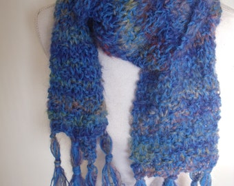 Blue Variegated Mohairsjaal with frills (150cm long, 23 cm wide)