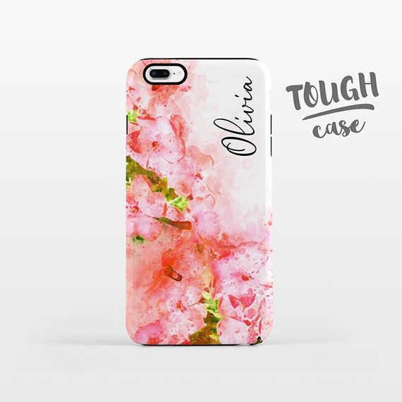 Watercolor Floral NAME Personalized iPhone Case Custom iPhone X Case iPhone 8 Case iPhone 7 Plus Case iPhone 6 Plus iPhone 6S Coral Flowers