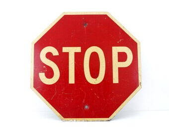 "Vintage Metal ""STOP"" Sign, 24"" x 24"" (c.1960s) - Industrial Home Decor, Collectible Signage, Man Cave, Red & White Sign"