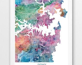 sydney map print sydney australia poster print sydney urban street map print watercolor