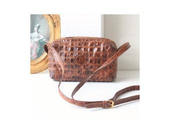 Authentic Fendi Crocodile embossed Leather Shoulder handbag