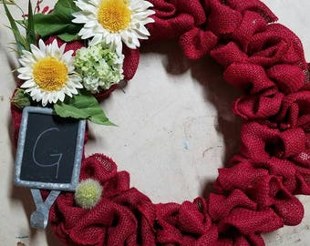 Red Burlap Floral wreath