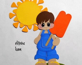 Elite4u Kam Summer Boy Popsicle Sun Embellishments Die Cut premade paper piecing for scrapbook page album border