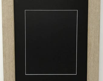 """22x28 1.75"""" Rustic Beige Solid Wood Picture Frame with Black Mat Cut for16x20 Picture"""