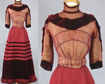 Victorian Edwardian Wine Red Corded Silk & Velvet Dress, 1890s 1900s Dress, Floral Silk Ribbon Lace Bodice, Velvet Fringe Skirt, Steampunk