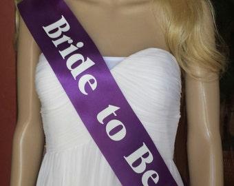 Bride to Be Sash Bride to be sashes Wedding Sashes Purple sashes